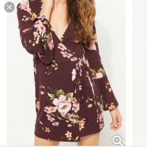 Bell sleeve wrap dress